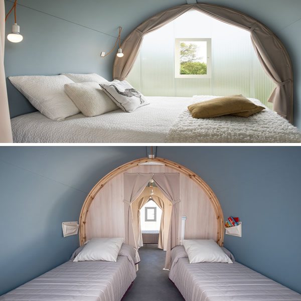 Super camping pods 2 bedroom glamping accommodation Suffolk.